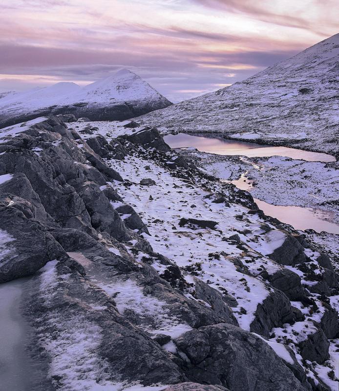 Ice Ridge An Teallach, An Teallach, Dundonnell, Scotland, peaks, ice, snow, treacherous, ridge, sunset, pinkening, sky,  photo