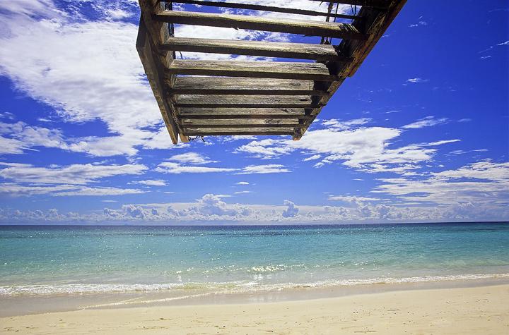 Idyllic Zanzibar, North Coast, Zanzibar, Africa, idyllic, coral, white, sand, beach, ladder, jetty, exotic   photo
