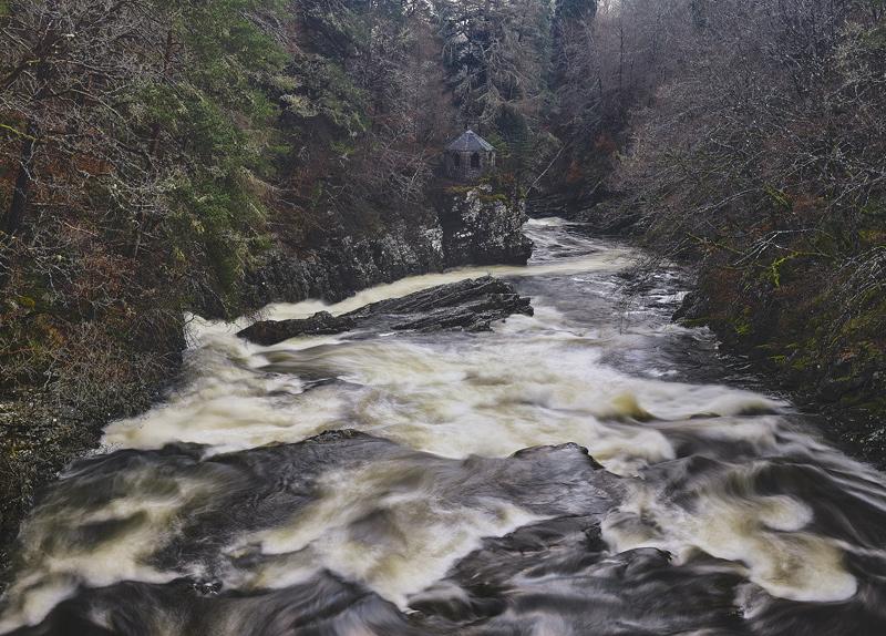 Invermoriston Folly, Glenmoriston, Highlands, Scotland, bridge, thunders, river, balanced, folly, gorge, subdued, winter photo