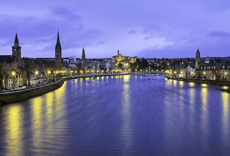 Inverness Twilight, Inverness, Highlands, Scotland, Ness, river, wet, winter, evening, sodium, street, reflected, textur photo