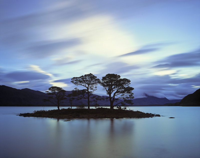 Island Pine Maree, Slattadale, Torridon, Scotland, island, Scots Pine, Slioch, sunrise, pre-dawn, reflections, smooth, c photo