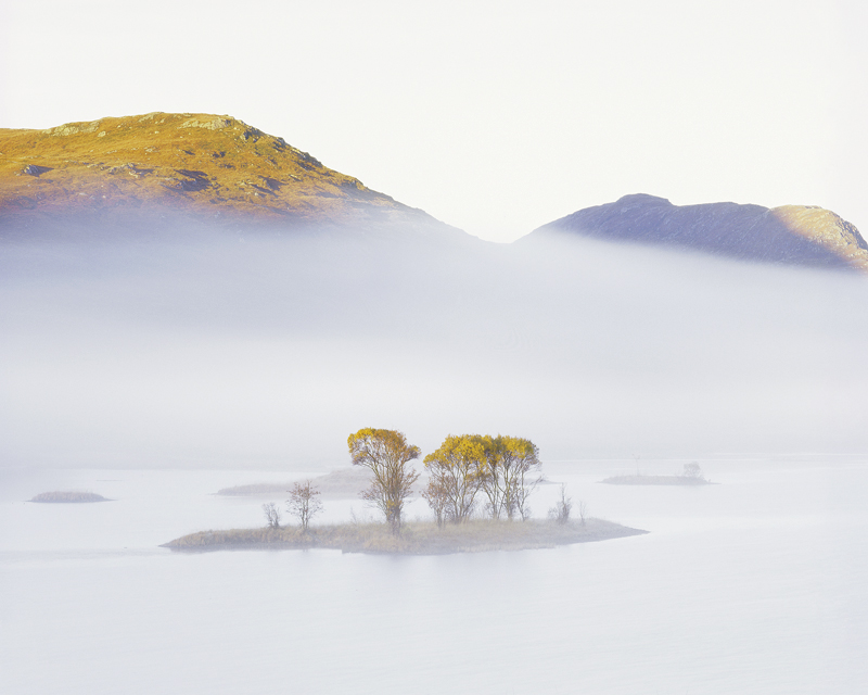 Island In The Mist, Loch Droma, Glascarnoch,  Scotland, magical, amazing, November, morning, freezing, cold, still, dawn photo