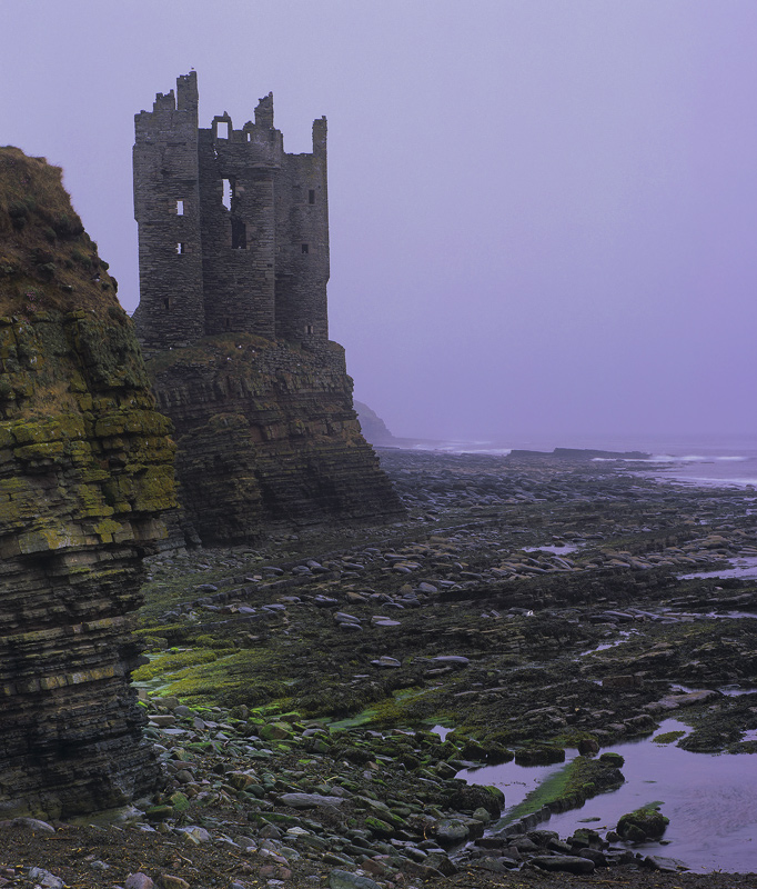 Keiss Castle, Keiss, Caithness, Scotland, subdued, misty, ominous, cliff, stack, ugly, rock, weather, colourless, grey photo