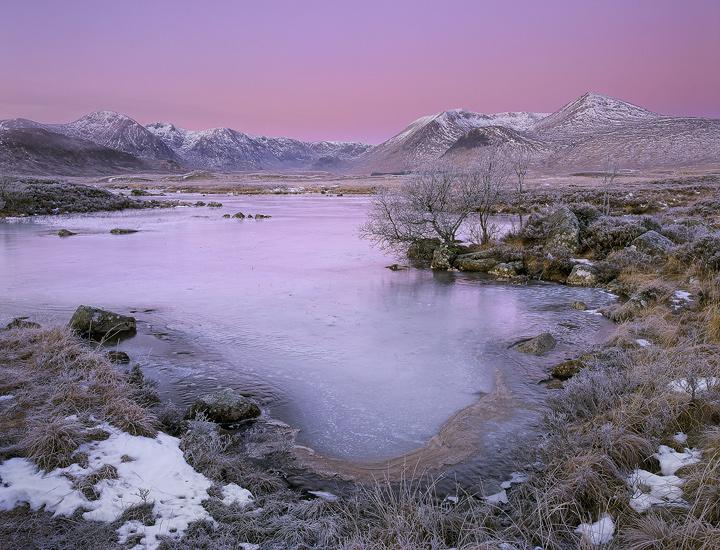 Kissed By A Rose, Rannoch Moor, Glencoe, Scotland, pink, rosy, light, Earths shadow, sunrise, Blackmount, Loch N'Achlais photo