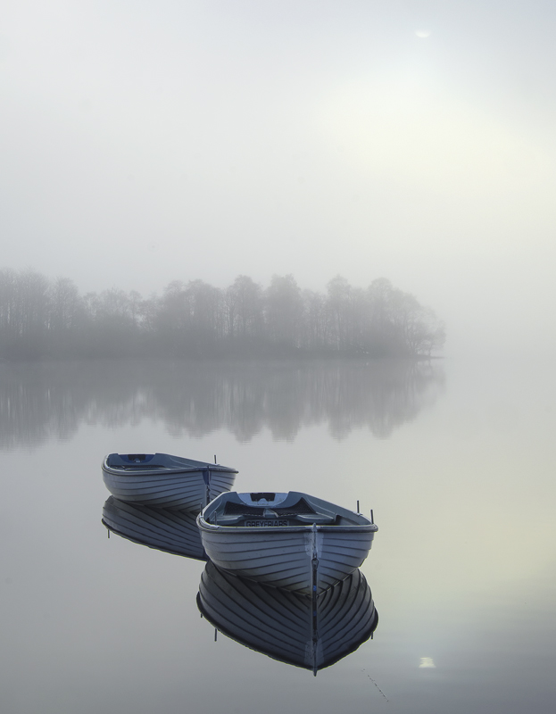 Languid Rusky 2, Loch Rusky, Trossachs, Scotland, mist, gorgeous, magic, morning, sun, partially concealed, pale blue, b photo