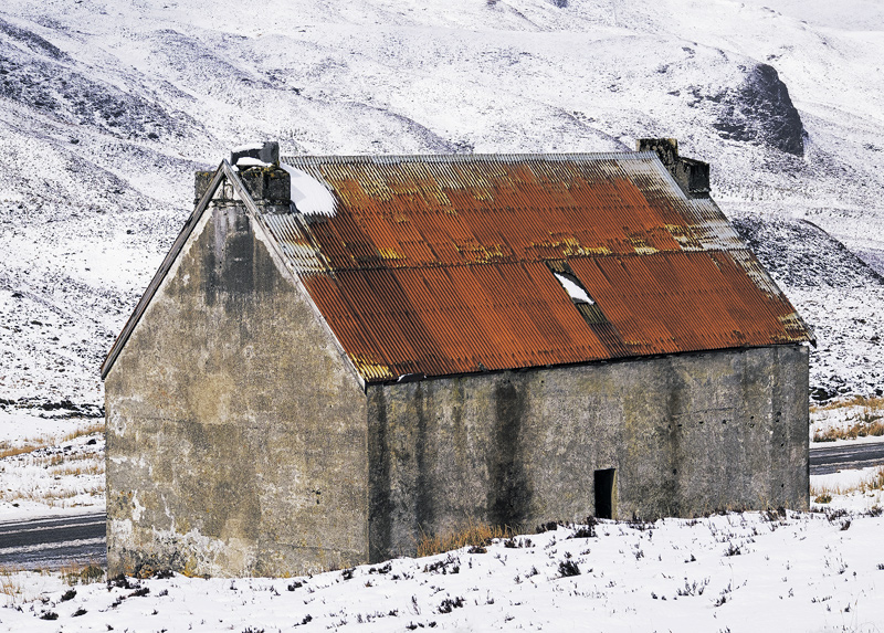 Last Chance Saloon, Fain, Highlands, Scotland, Braemore Junction, Dundonnell, snow, rusted, red, roof, dwelling, house   photo