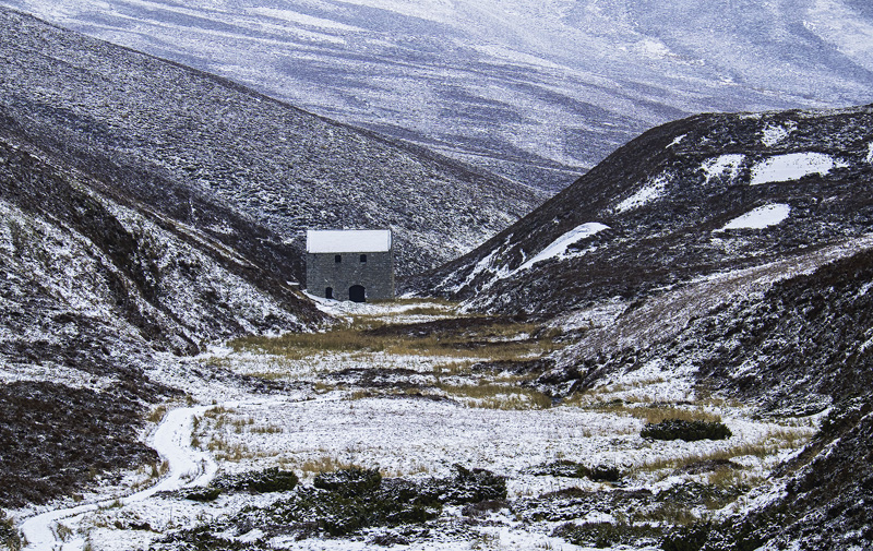 Lead Mill, Well of Lecht, Grampians, Scotland, abandoned, nestled, folds, Grampian hills, Lecht, snow, steely, stained,  photo
