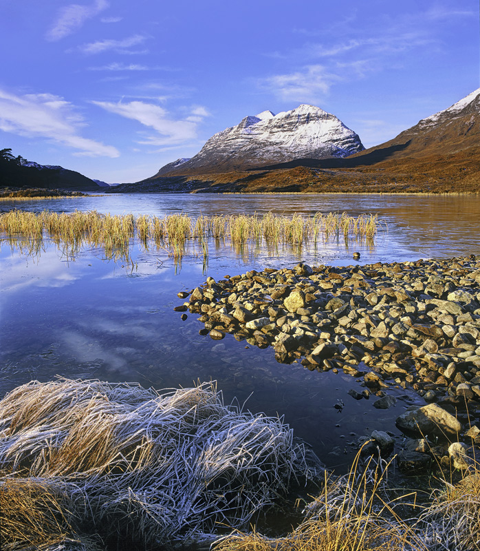 Liathach Chilled, Loch Clair, Torridon, Scotland, snow, peak, reflected, ice, blue, cloud, gold, reeds, frosted, mountai photo