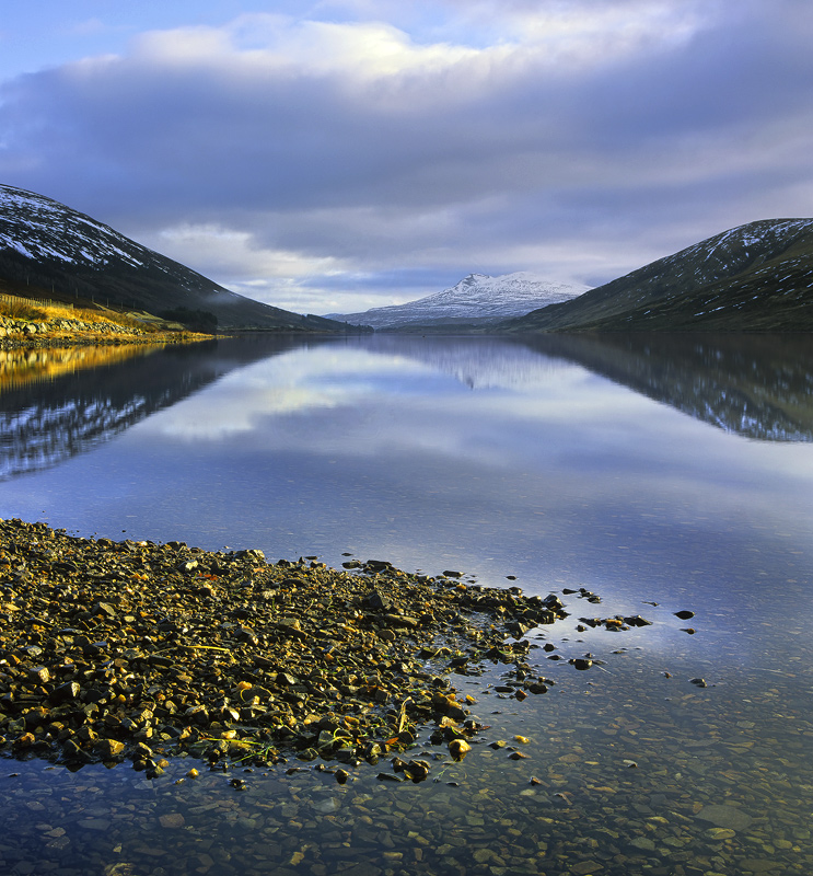 Light Harmony, Loch A Chroisg, Achnasheen, Scotland, reflection, sunrise, golden, light, beach, pebble, winter   photo