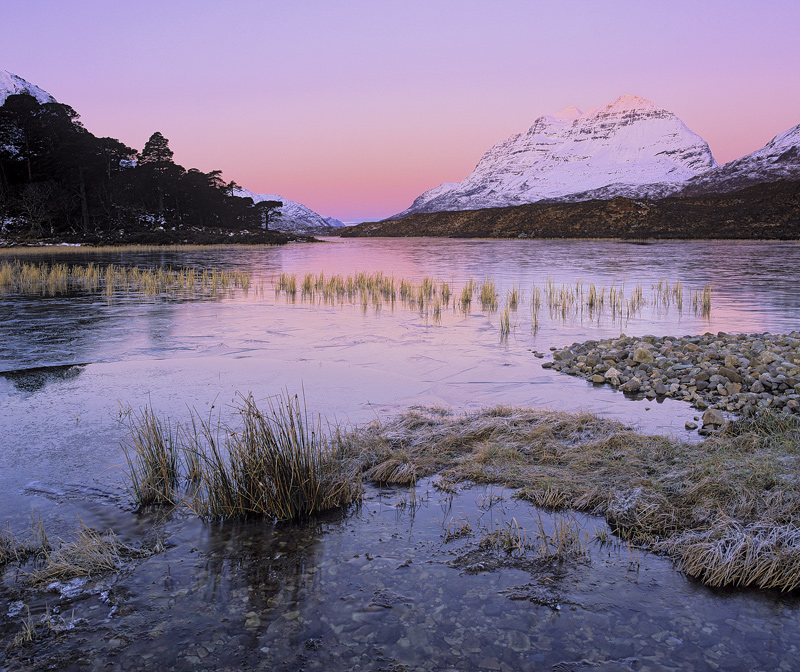 Loch Clair Rose, Loch Clair, Torridon, Scotland, winter, morning, clear, sky, pink, blue, Earths shadow, projected, froz photo
