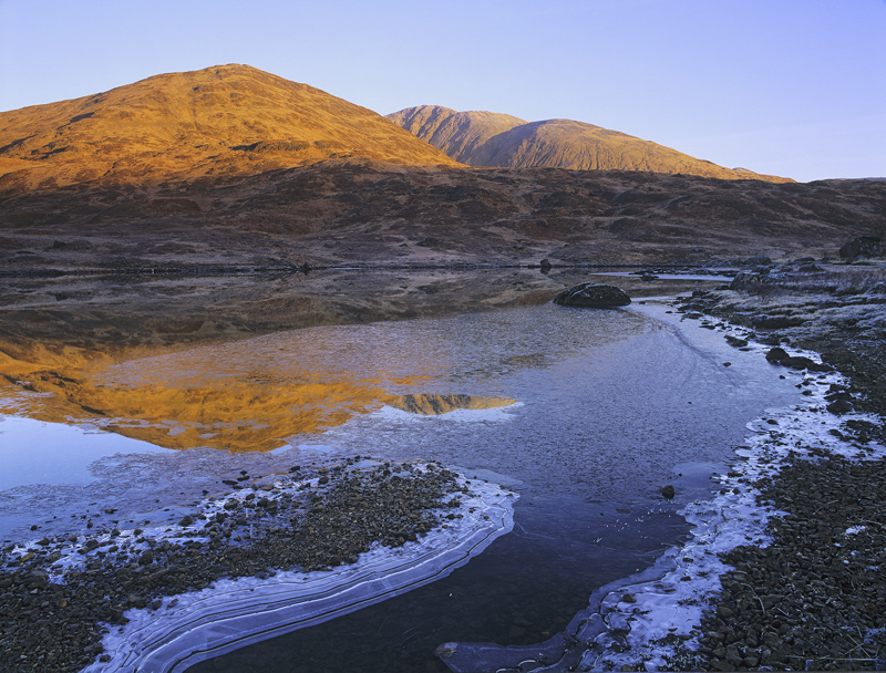 Loch Dochard Sunrise, Loch Dochard, Highlands, Scotland, rising sun, Black Mount, bracken, amber, peaks, frozen, reflect photo