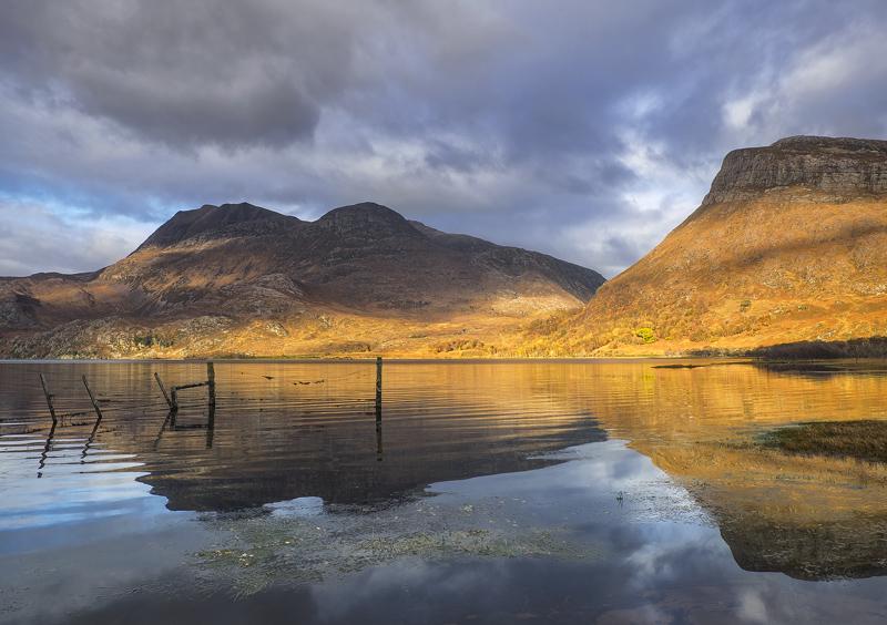 Loch Maree Copper, Loch Maree, Torridon, Scotland, caramel, blue, grey, cloud, shade, peaks, sublime, reflection, ripple photo