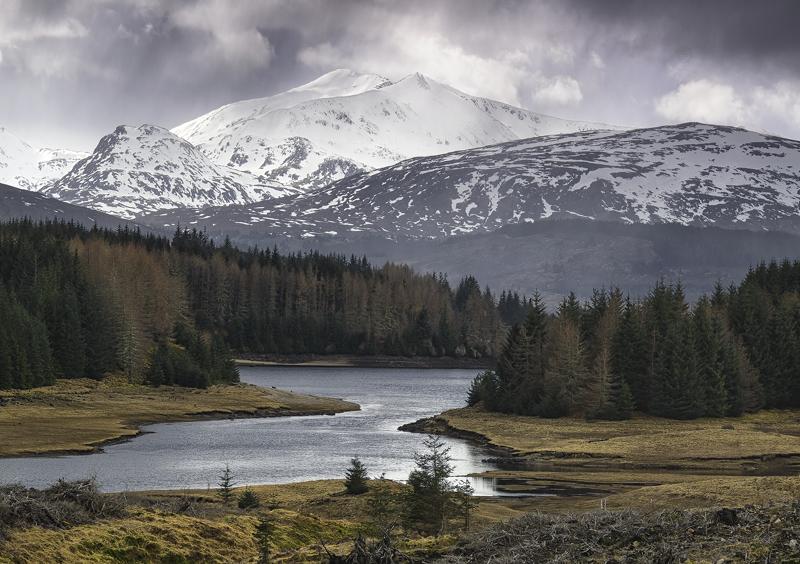 Lochaber Cloudburst, Glen Spean, Highlands, Scotland, dark, moody, sky, snow, hail, sleet, Spring, muted, intersecting,  photo