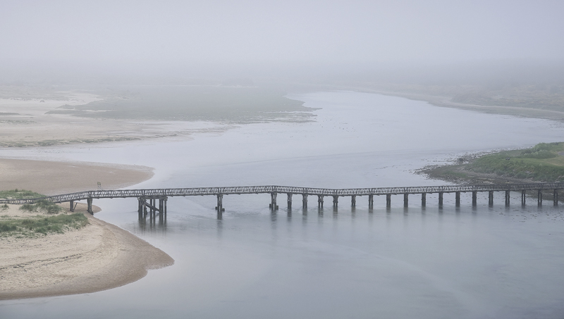 Lossie Haar, Lossiemouth, Moray, Scotland, thick, grey, carpet, mist, fog, sombre, beach, eerie, Spring  photo