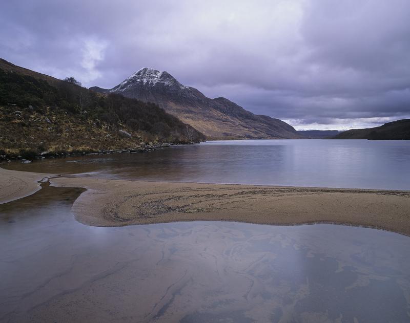 Lurgainn Moods, Loch Lurgainn, Inverpolly, Scotland, terracotta, sand bar, Cul Beag, snow, winter, sunlight, dappled  photo