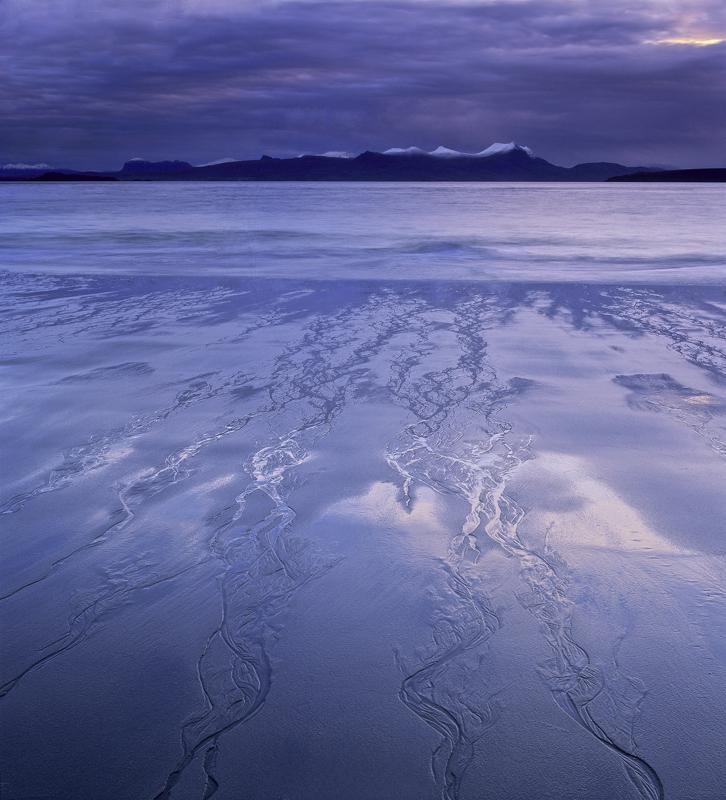 Mellon Tails, Mellon Udrigle, Ross-Shire, Scotland, beach, sand, outflow, shore, branching, wet, winter, mountains, snow photo