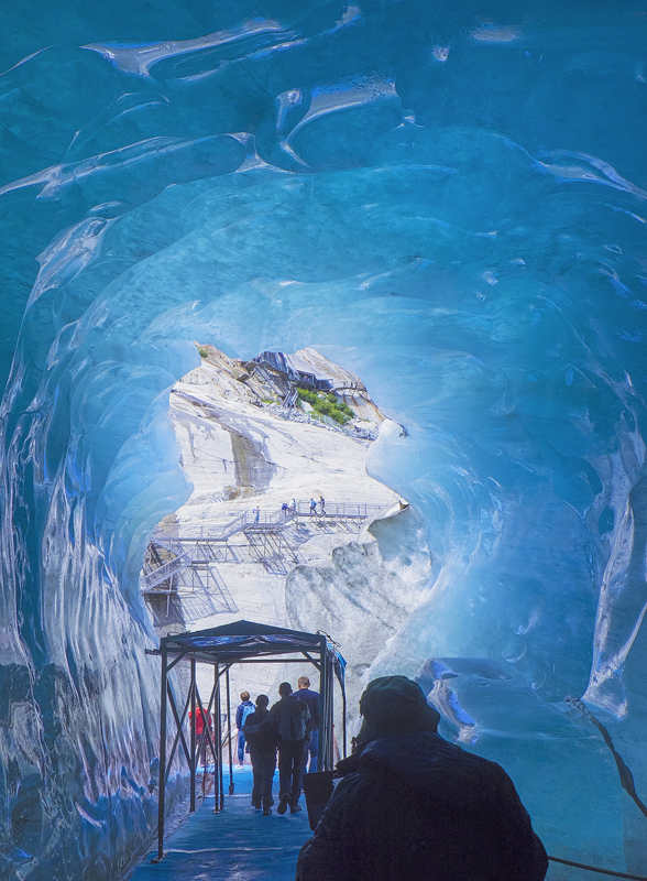 ice, caverns, tourists, blue, compressed, Mont Blanc Massif, glacial, tunnel, steps photo