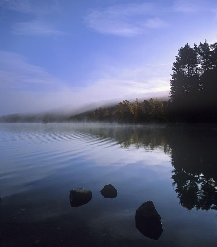 Mist Rising Loch Achilt, Loch Achilt, Contin, Scotland,misty, chill, morning, silence still, surface, reflection, calm r photo