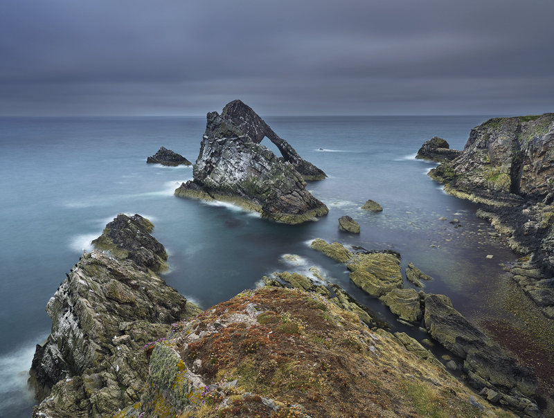 Moody Bowfiddle, Portknockie, Moray, Scotland, cloud, view point, thick, long exposure, rocky, rough, texture, turquoise photo