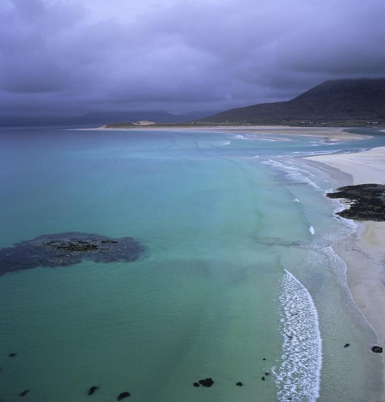 Moody Overlook Seilebost, Seilebost, Harris, Scotland, west coast, dark, sky, water, breathtaking, turquoise, reflected, photo