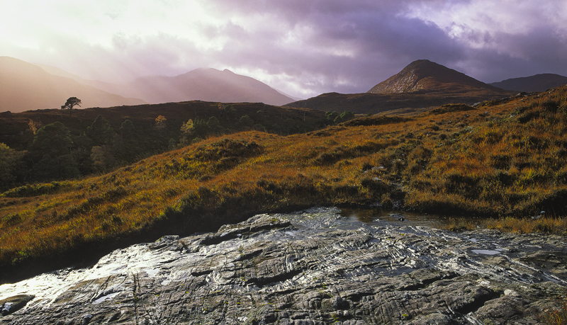 Mountain Light Strathfarrar, Strathfarrar, Highland, Scotland, stunning, autumnal, light, birch, scots pine, trees, glin photo
