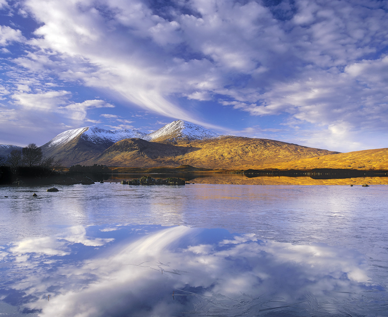Mountain Mirror, Rannoch Moor, Glencoe, Scotland, sky, ice, loch, unfrozen, water, freezing, mirror, raking, light, hill photo