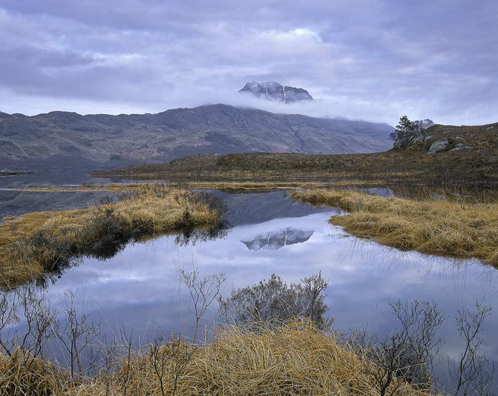 Murmur Of Slioch, Loch Maree, Torridon, Scotland, Slioch, dead, grasses, mirrored, veil, cloud, pool, winter, evening, c photo