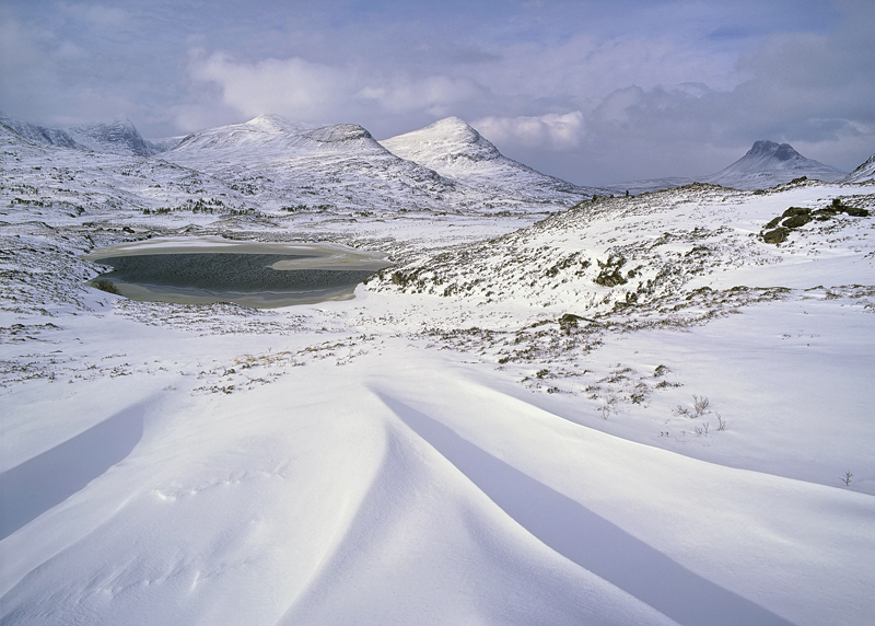 Narnia, Drumrunie, Inverpolly, Scotland, sunlit, rise, people, scale, element, Beast from the East, snow, blanket, fortu photo