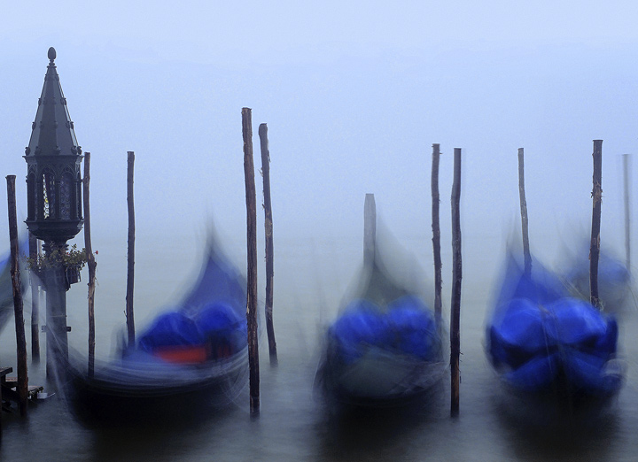Nodding Gondolas, St Marks Square, Venice, Italy, sunrise, mist, colours, glow, beautifully, light, red,  photo