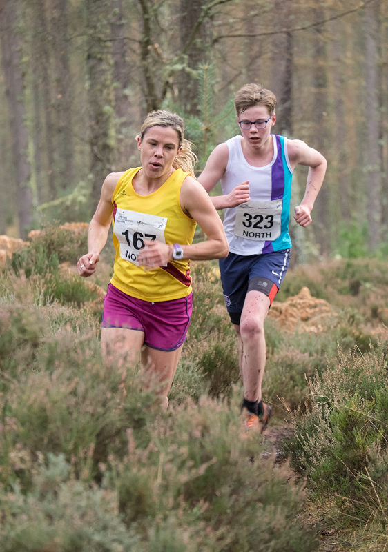 Second place runner in the North District Cross Country Championships senior womens event, Sarah Liebnitz from Inverness Harriers...
