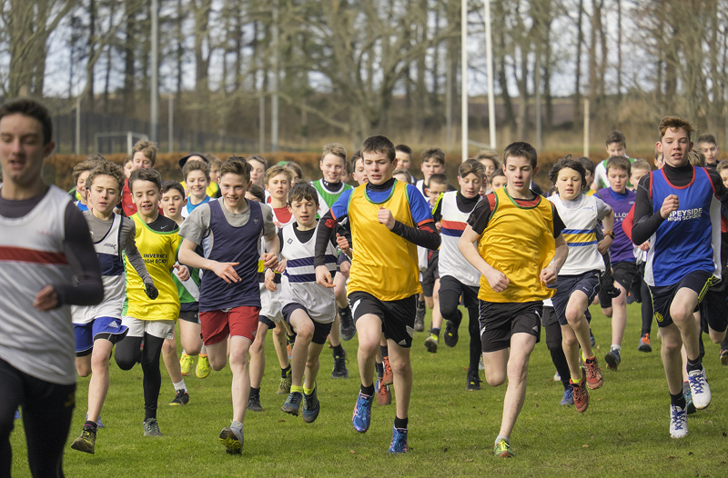 This is not the Championships at Irvine but the North District Secondary School cross country (D) setion under 14 boys race at...