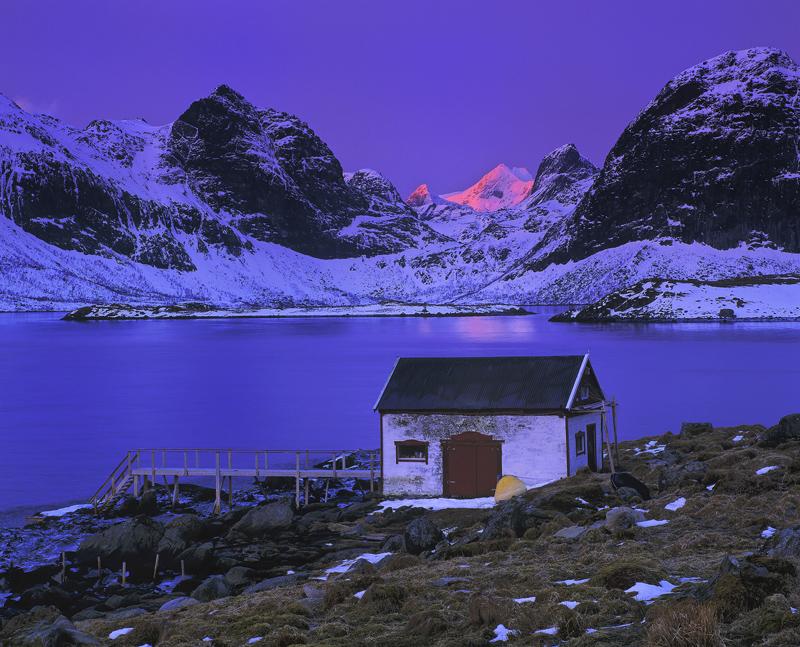 Pink Cone Krystad, Little Krystad, Lofoten, Norway, rorbrua, boat shed, white, sunrise, blood, conical, peak, mountains, photo