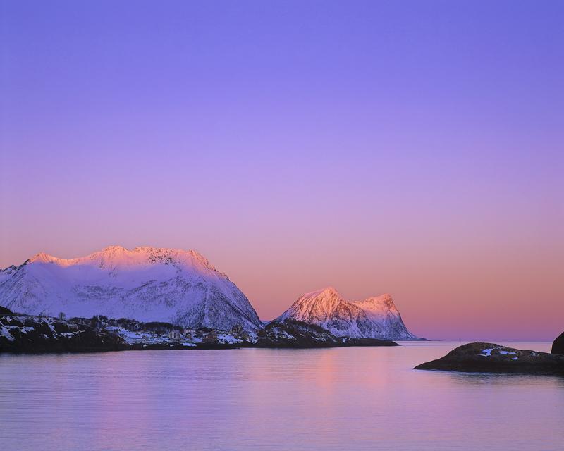 Pink Fringe Hamn, Hamn, Senja, Norway, light, morning, coast, earth shadow, twilight, dawn, snow capped, mountain, clear photo