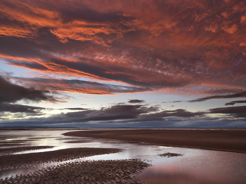 Plumset Findhorn, Findhorn, Moray, Scotland, scarlet, crimson, plum, sky, stunning, cloud, umbrella, fingers, sand, sedu photo