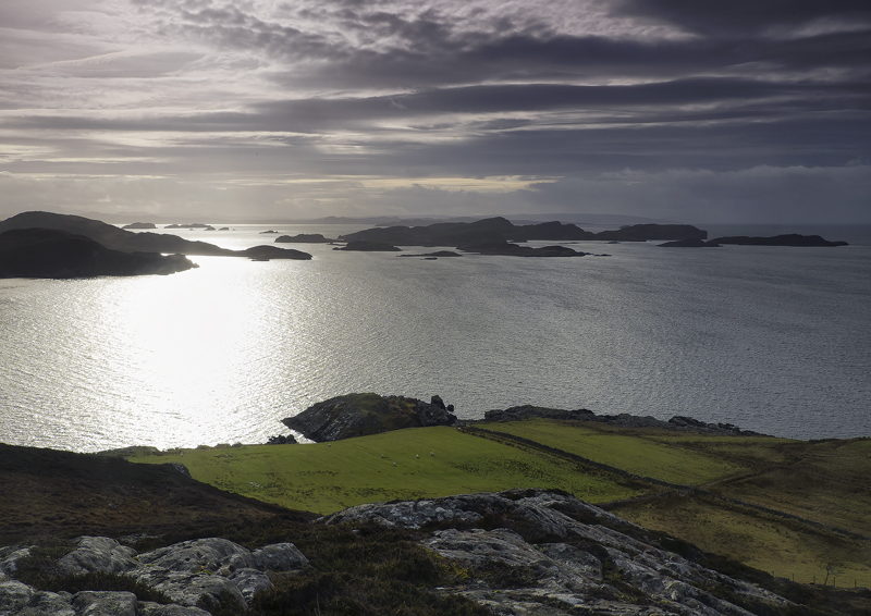 Polbain View Point, Polbain, Inverpolly, Scotland, chain, islands, Summer Isles, winter, silvery, silhouetted, grass photo