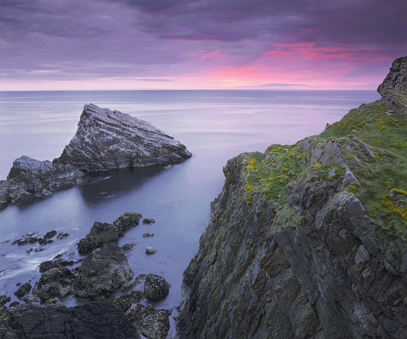 Portknockie Dawn, Portknockie, Moray, Scotland, summer, sunrise, grey, cliffs, bay, dolphins, water, flushed, pink photo