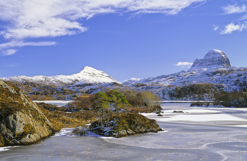 Suilven Pristine, Lochinver, Assynt, Scotland, gem, loch, scots pine, island, mountain, winter, view, frozen, thumb  photo