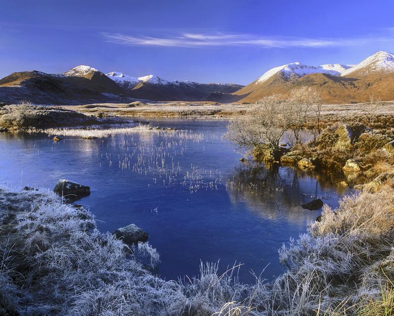 Pristine, Rannoch Moor, Glencoe, Scotland, winter, season, frost, sugar dusting, snow, peaks, blue, reflection, morning  photo