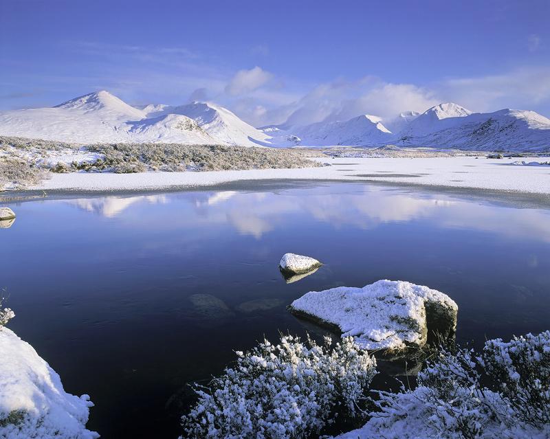 Purity, Loch Na Stainge, Rannoch Moor, Scotland, pristine, winter, morning, freshness, snow, cloud, brilliant, lochans photo
