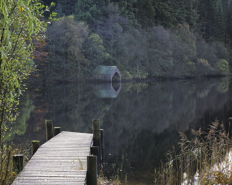 Quiet Corner Loch Ard, Loch Ard, Trossachs, Scotland, sombre, green, shed, boat, delicate, wooden, jetty, subdued  photo
