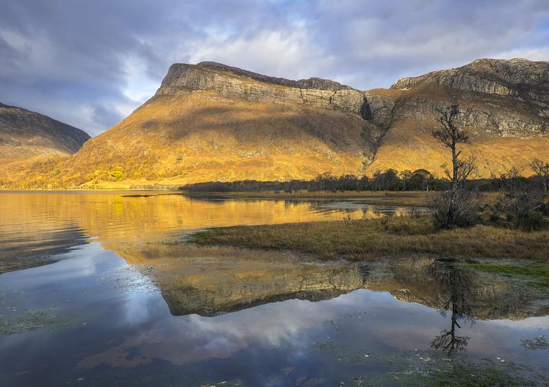 Quiet Corner Loch Maree, Loch Maree, Torridon, Scotland, copper, mountains, shadows, steely, blue, pattern, peaks, mirro photo