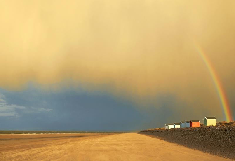 Rainbow Sands Findhorn, Findhorn, Moray, Scotland, empty, superlative, surreal, rainbow, electric, golden, sunlit, beach photo