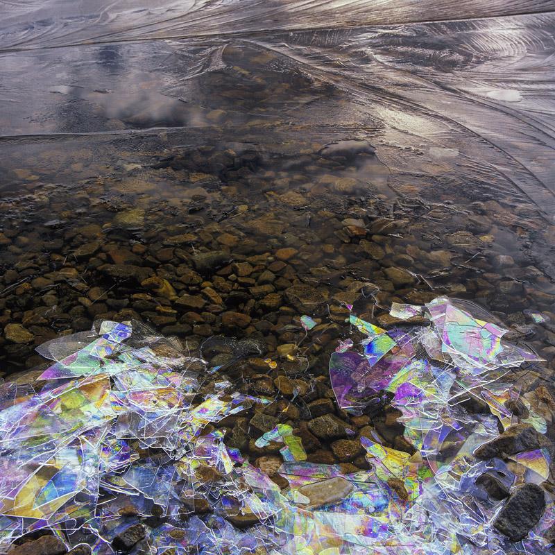 Rainbow Frieze, Loch A Chroisg, Achnasheen, Scotland, winter, freezing, skin, ice, glaze, thin, interference, patterns,  photo