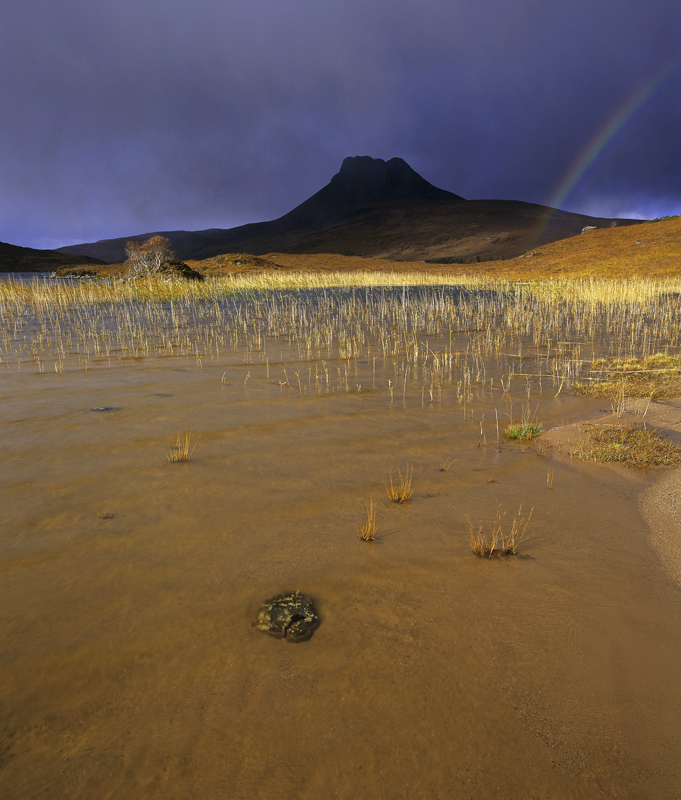 Rainbow Pollaidh, Loch Lurgainn, Inverpolly, Scotland, inky, blue, black, sky, hail, storm, silhouette, ribbon, sunlight photo