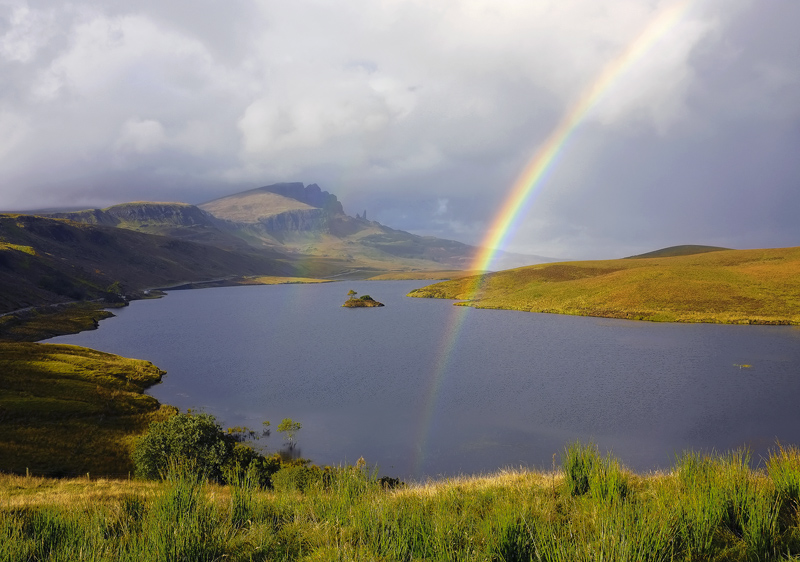 Rainbow Storr, Storr, Skye, Scotland, gorgeous, golden, light, double, intense, strong photo
