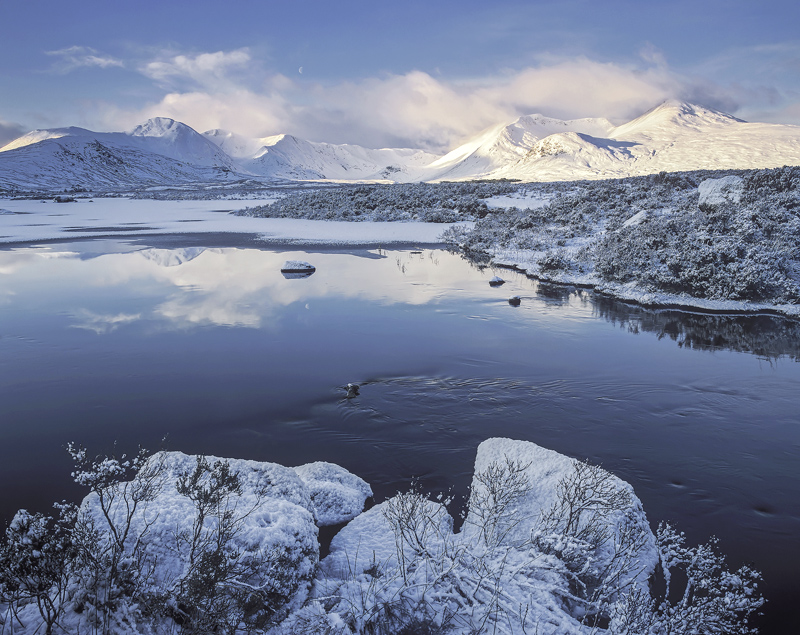 Rannoch Winter Blues, Rannoch Moor, Glencoe, Scotland, pristine, stillness, clear, frozen, winter, beauty, hushed photo