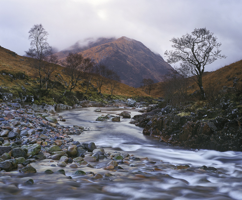 Rapids Bend Etive, Glen Etive, Highlands, Scotland, flows, multi-hued, clear, foaming, white, spray, birch, corridor   photo