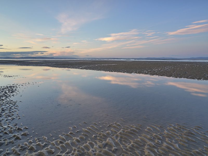 Reflection Pool Cloudscape, Findhorn, Moray, Scotland, tide, unblemished, sand, furrowed, patterned, pools, reflections, photo