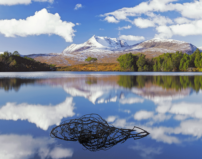 Reflections Coigach, Loch Cul Dromannan, Inverpolly, Scotland, perfect, winter, snow, mountains, snag, birch, patterns  photo