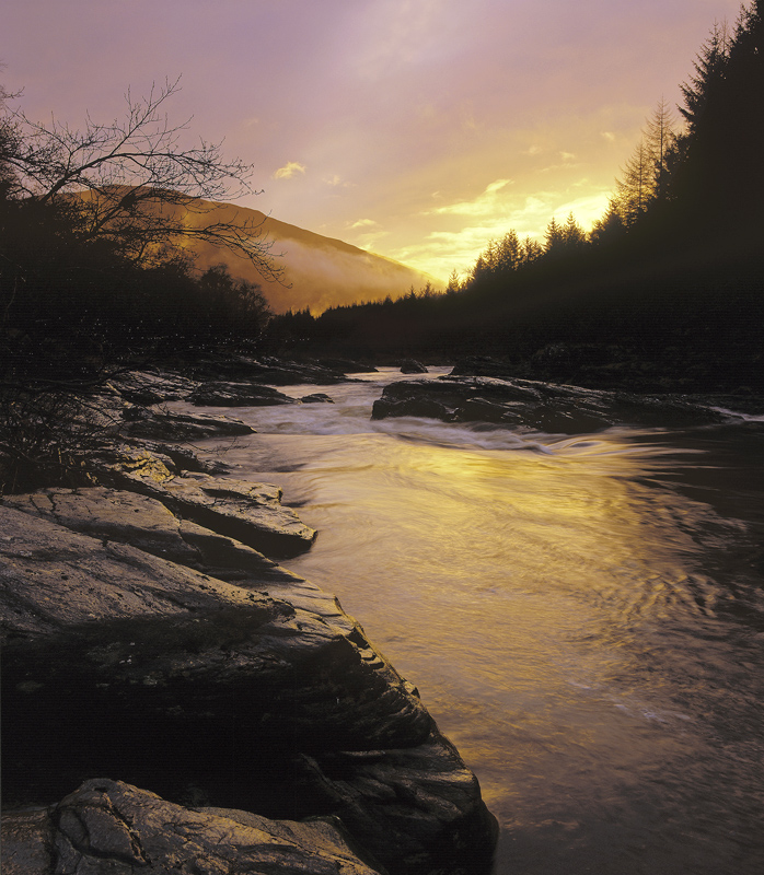 River Orchy Gold, Glen Orchy, Highlands, Scotland, winter, drizzle, shelter, river, exquisite, golden, sunlight, reflect photo